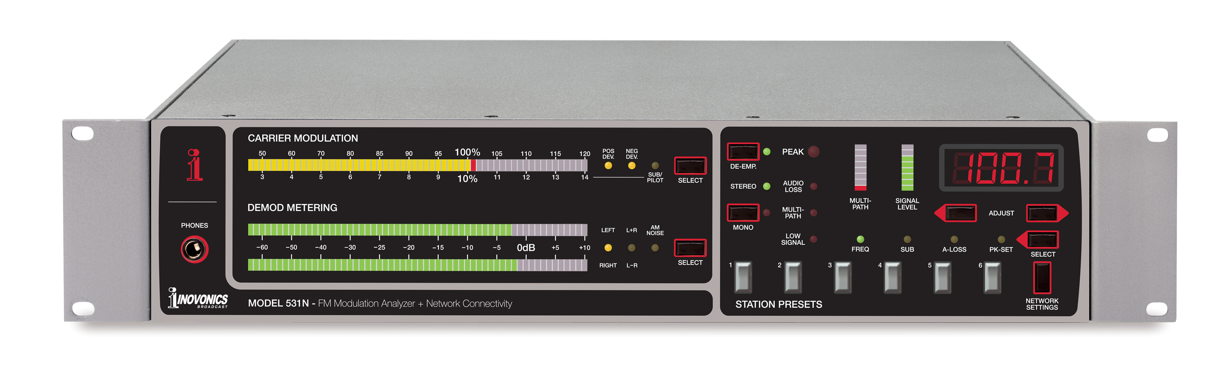 Fm Modulation Monitor Model 531n Inovonics Broadcast Inc Receiver Product Image